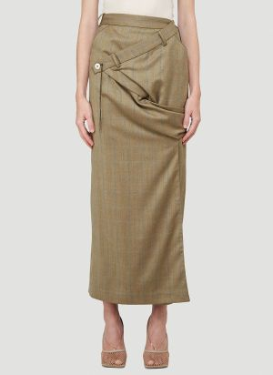 Ninamounah Revenge Longline Skirt in Brown