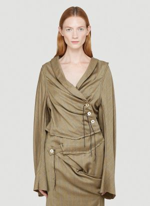 Ninamounah Serpent Draped-Sleeve Top in Brown