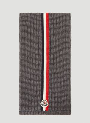Moncler Waffle-Knit Scarf in Grey