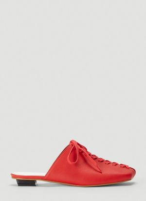 Flat Apartment Lace-Up Mules in Red