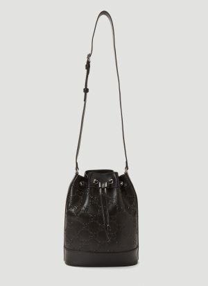 Gucci Embossed-Logo Small Bucket Bag in Black