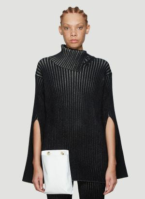 2 Moncler 1952 Ribbed Asymmetric Knit Sweater in Black