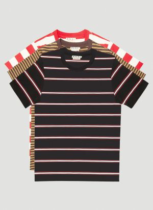 Marni Pack Of Three Striped T-Shirts in Red