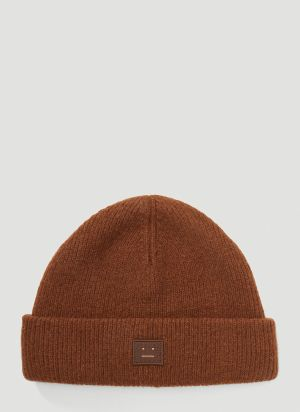 Acne Studios Logo-Patch Beanie Hat in Brown