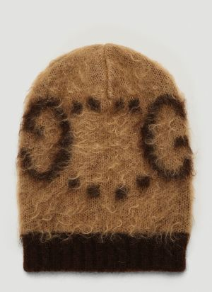 Gucci Tactile-Knit Beanie Hat in Brown
