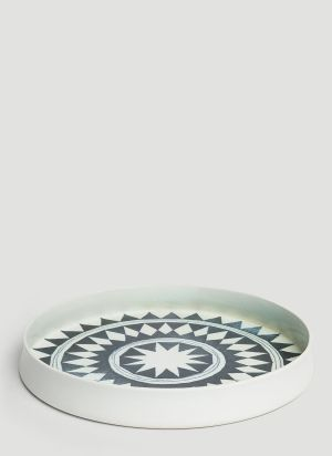 L'Objet Tribal Diamond Round Platter in Black