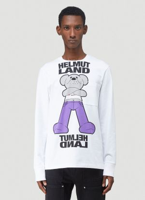 Helmut Lang Logo-Print Long-Sleeved T-Shirt in White