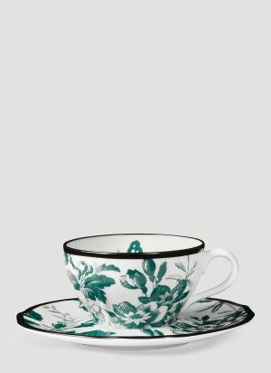 Gucci Herbarium Demitasse Cup and Saucer Set in Green