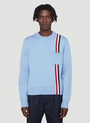 Thom Browne Intarsia-Stripe Knitted Sweater in Blue
