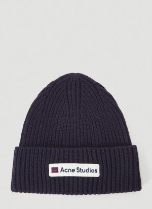 Acne Studios Logo-Patch Beanie Hat in Blue