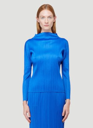 Pleats Please Issey Miyake Basics Long-Sleeved Top in Blue