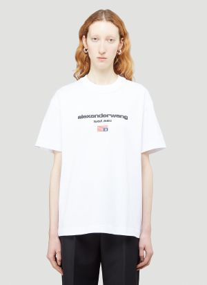 Alexander Wang Embroidered-Logo T-Shirt in White