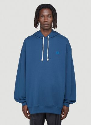Acne Studios Oversized Face Hooded Sweatshirt in Blue