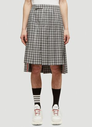 Thom Browne Checked Kilt in Grey