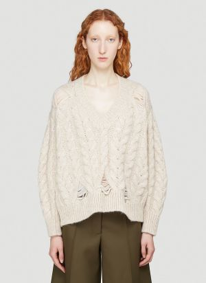 Stella McCartney Distressed-Knit V-Neck Sweater in Beige