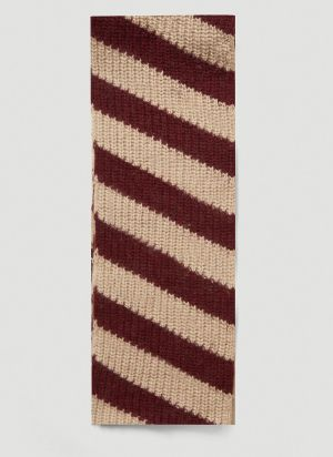 Marni Striped Chunky-Knit Scarf in Brown