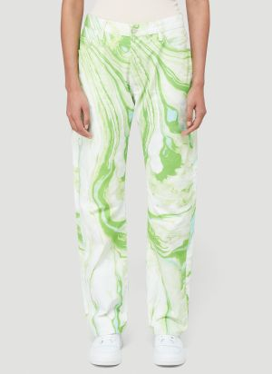 Aries Marble-Print Jeans in Green