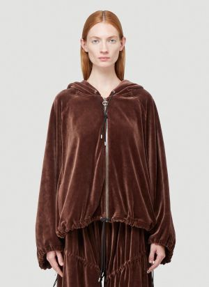 Telfar Velour Peasant Sweatshirt in Brown