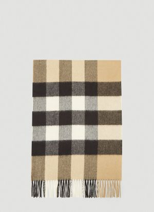 Burberry Mega Check Cashmere Scarf in Beige