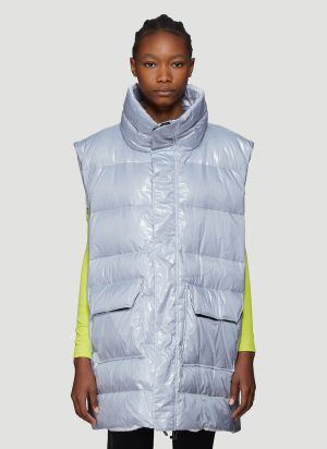 Unravel Project High Shine Padded Gilet in Grey