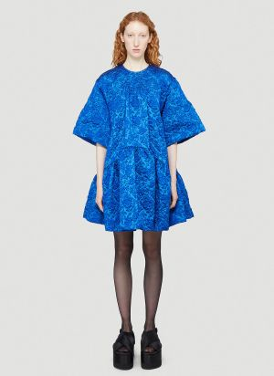 Simone Rocha Gathered Floral-Cloqué Dress in Blue
