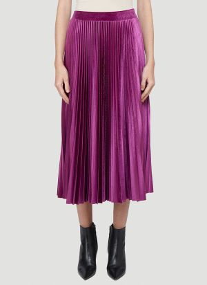 Valentino Velvet Pleated Skirt in Pink