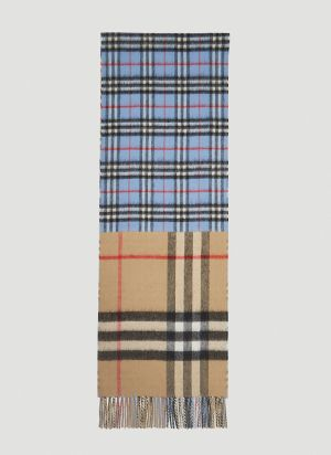 Burberry Contrast Check Scarf in Blue