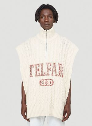 Telfar Open Cable-Knit Sweater in White