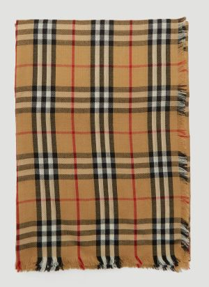 Burberry Vintage Check Lightweight Cashmere Scarf in Beige