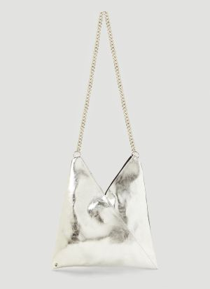MM6 Maison Margiela Metallic Faux-Leather Tote Bag in Silver