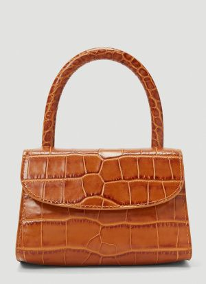 by Far Mini Crocodile Embossed Bag in Tan
