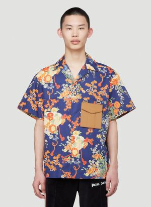 Palm Angels Floral Shirt in Blue