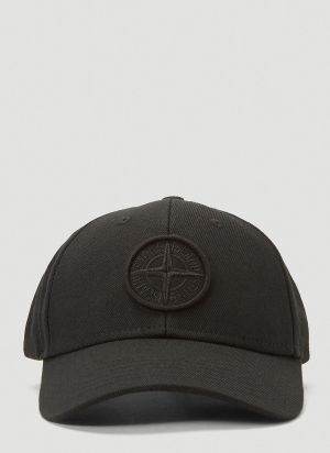 Stone Island Embroidered-Logo Baseball Cap in Black