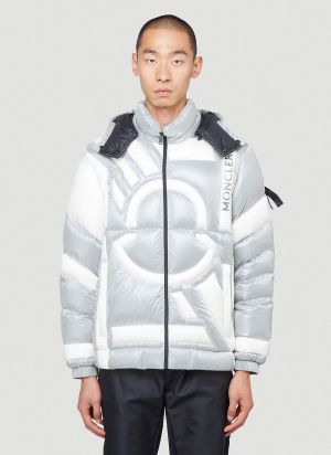 5 Moncler Craig Green Contrast-Panel Down Jacket in Silver