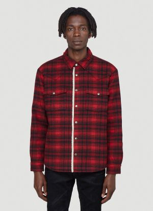 Saint Laurent Western Shearling Shirt in Red