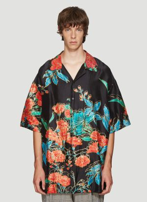 Gucci Oversized Floral Bowling Shirt in Black