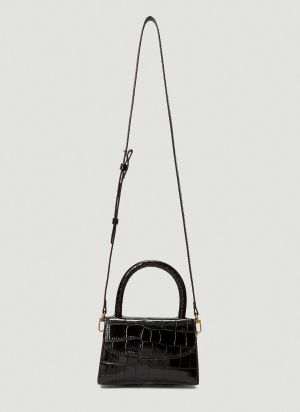 by Far Mini Crocodile Embossed Bag in Black