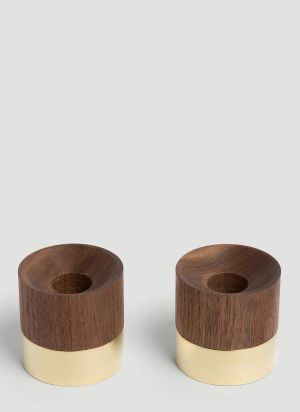 Shibui Set-Of-Two Ring Candlesticks in Brown