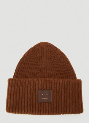 Acne Studios Face Beanie Hat in Brown