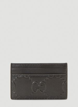Gucci Perforated-Leather Card Holder in Black