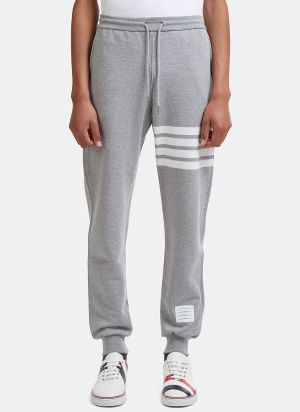 Thom Browne 4 Bar Jersey Track Pants in Light Grey