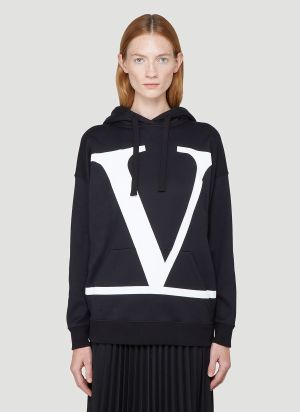 Valentino V Logo Hooded Sweatshirt in Black