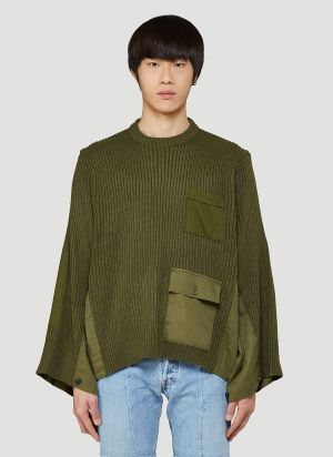Bonum Contrast-Panel Knitted Sweater in Green