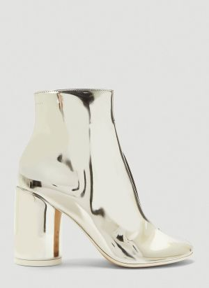 MM6 Maison Margiela Metallic Faux-Leather Ankle Boots in Silver