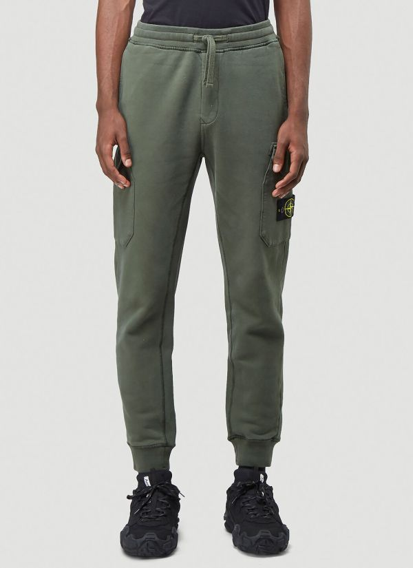 Stone Island Fleece Track Pants in Green
