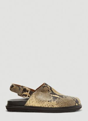 Marni Python-Effect Mule Sandals in Yellow