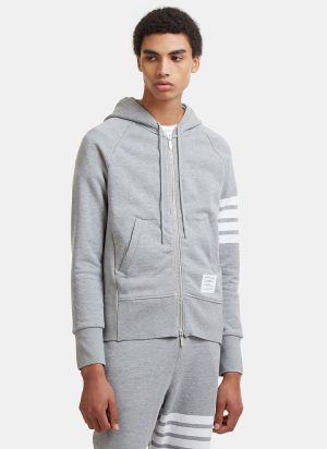 Thom Browne 4 Bar Hooded Sweater in Light Grey