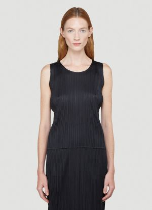 Pleats Please Issey Miyake Basics Tank Top in Black