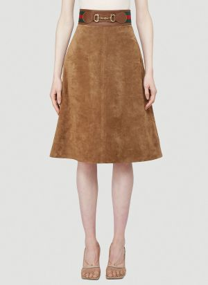 Gucci Horsebit Suede Skirt in Brown
