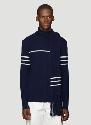JW Anderson Scarf Knit Sweater in Navy